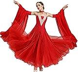 Wangmei Ballsaaltanz Kleider Moderne Performance Kostüme für Damen Walzer Tango Glattes Kleid Wettbewerb Tanzbekleidung, L