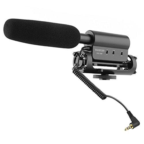 LESHP Estéreo Video Escopeta Micrófono Entrevista Micrófono MIC de grabación de fotografía para Canon Nikon DSLR Cámara DV Videocámara