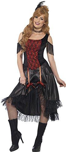 Smiffy's 45507M - Damen Saloon Girl Kostüm, Kleid, Halsreif und Haarschmuck, Größe: 40-42, schwarz
