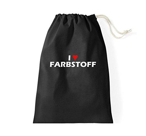 Krokodil Turnbeutel I love Farbstoff Fun Spass Humor Hipster Gymsack Kultsack Schwarz
