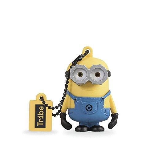 Tribe minions cattivissimo me bob chiavetta usb da 8 gb pendrive memoria usb flash drive 2.0 memory stick, idee regalo originali, figurine 3d, archiviazione dati usb gadget in pvc con portachiavi - giallo