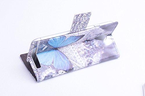Baiwei Bunt Pu Leder Kunstleder Flip Cover Tasche Handyhülle Case mit Halterung Und Karte Slot für Alcatel One Touch Idol Mini OT 6012D 6012A 6012X 6012W TCL S530T Android 3G Smartphone (Mode 1)
