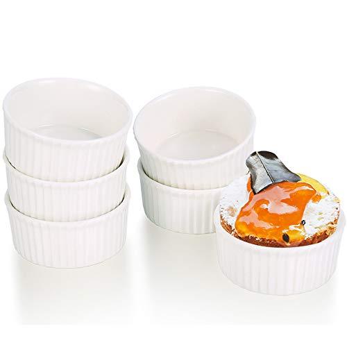 Auflaufförmchen Ramekin-Set aus Porzellan, 7 CM Weiß Keramik Soufflé Förmchen Dish für Fondants, Creme Brûlée oder Muffins(6er Set) Keramik Souffle