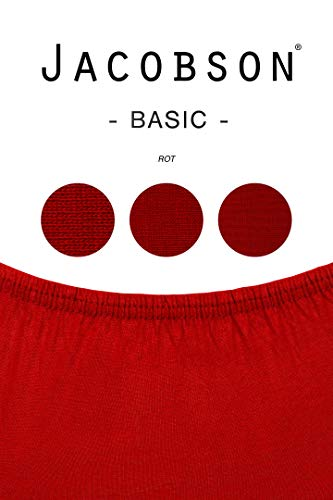 Jacobson Jersey Spannbettlaken Spannbetttuch Baumwolle Bettlaken (90×200-100×200 cm, Rot) - 3