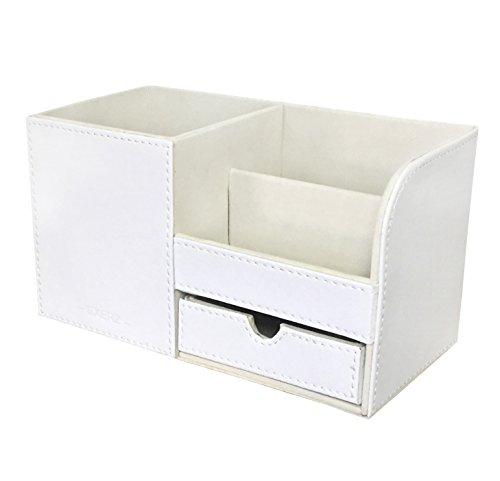 Exerz EX7078 Premium Großes Kunstleder Tisch-Organizer/Ablagesystem/Stiftehalter/Schreibtischset/Multifunktionsorganizer (Weiß 7078)