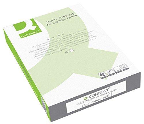 Q Connect KF01087 Papel de Copiadora, A4 multifuncional 80 g/m2, blanco, 500 hojas, 1 paquete