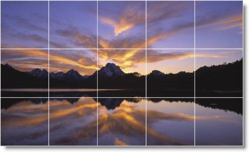 SUNSET FOTO MURAL DUCHA AZULEJO S005  18X 30CM CON (15) 6X 6AZULEJOS DE CERAMICA
