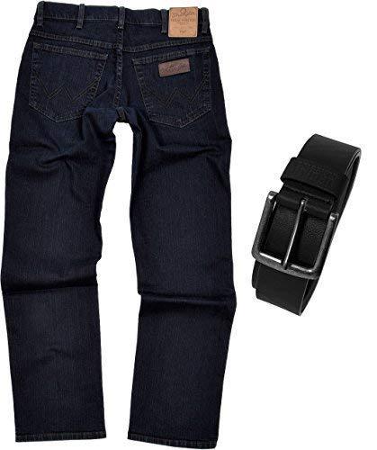 Wrangler TEXAS STRETCH Herren Jeans Regular Fit inkl. Gürtel (W44/L32, Blue Black)