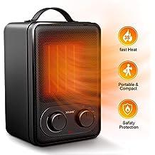 Calefactor de Potencia Regulable Eléctrico, DOUHE Calentador de Ventilador PTC Elemento de Cerámica 1800W/