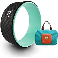 Yoga Wheel Yoga rueda con guía para mejorar la flexibilidad en Yogaübungen belastbar hasta 474 kg, mujer hombre, Aqua + Handy Bag