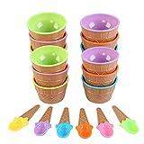 Runaup Ciotole per Gelato, Set Ciotole in plastica Set Tazze per Yogurt ghiacciato, Colori Vivaci (Set di 12)