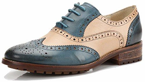 SimpleC Perforierte Schnüren Wingtip MehrfarbenLeder Oxfords Vintage Comfy Office Schuhe Blau-Beige37 (Schuhe Wingtip)