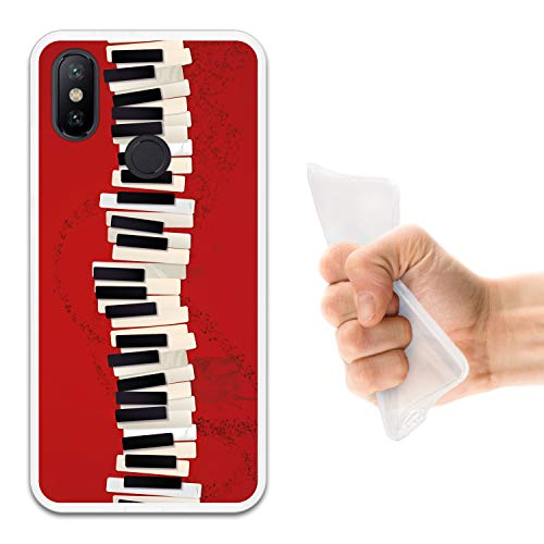 WoowCase Funda Xiaomi Mi A2 Lite - Redmi 6 Pro, [Xiaomi Mi A2 Lite - Redmi 6 Pro ] Funda Silicona Gel Flexible Teclado Piano, Carcasa Case TPU Silicona - Transparente