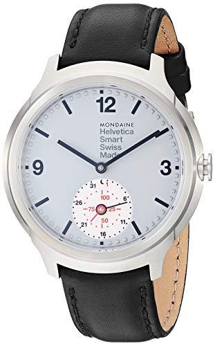 Mondaine Helvetica Smart Watch, Damen-/ Herren-Uhr, Schwarzes Lederarmband, App mit Coaching Funktion für iOS / Andorid