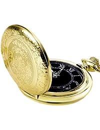 Orologio da Taschino al Quarzo per Uomo con Quadrante Nero e Catena (Oro)