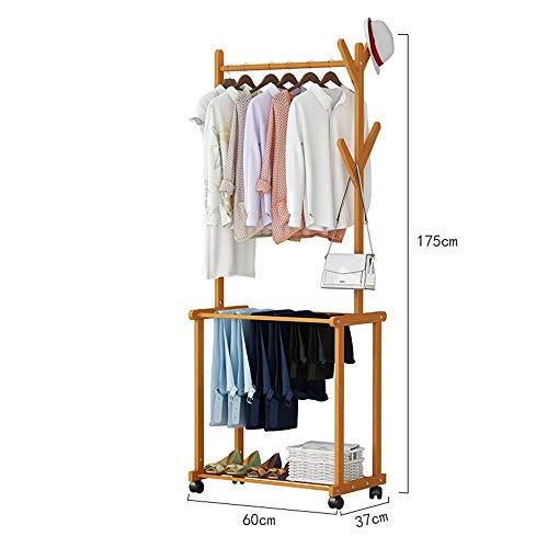 JIAYING Rollender Kleiderständer aus Bambus mit 1 Aufhänger und 2 Etagen-Regalen zur Aufbewahrung von Kleidungsstücken für Schlafzimmer, Wohnzimmer und Flure (größe : 60×37×175CM)