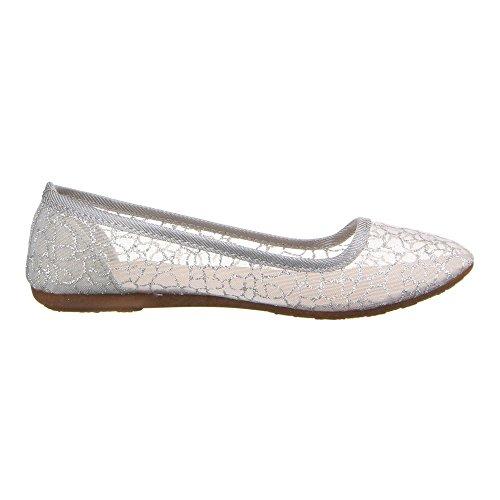 Damen Schuhe, 22-152, BALLERINAS Silber