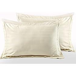 Juego de cama con funda nórdica de algodón egipcio satinado, diseño de rayas, algodón egípcio, crema, Oxford Pillowcases - Pair (50x75cm)