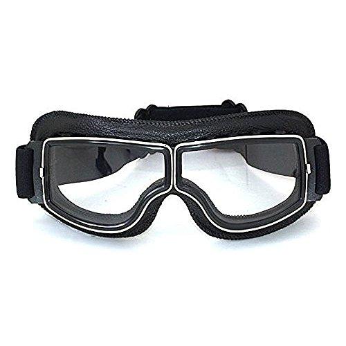 League & Co Brille Maske für Moto Cross Aviator Pilot Vintage aus PU Leder und PC Lens-UV