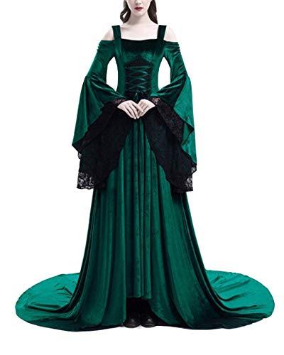 Damen Lange Spitze Kleid Maxikleider Retro Halloween Kostüm Langarm Renaissance Kleider Grün S