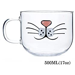 Taza de cristal Cat Beard, adorable, divertida, linda taza de gato, taza de café Cat Coffee Milk, resistente al calor y al frío (17oz)