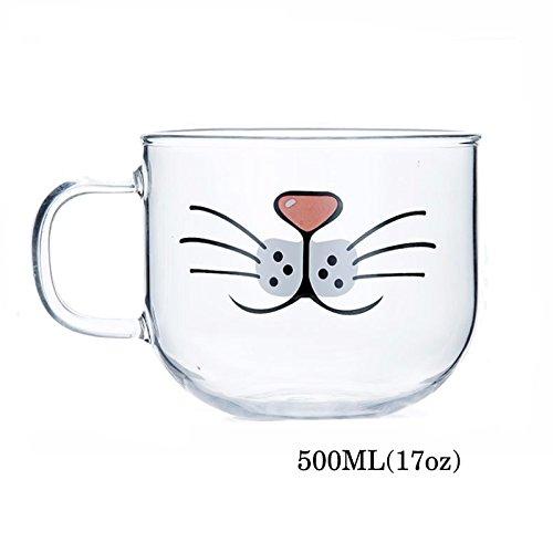 Binoster Katzen-Bart-Glasbecher, Schön, Komisch, süße Katzenbecher, Katze Kaffee Milch Teetasse, Hitze und Kälte beständig (17oz)