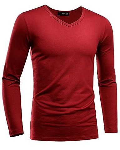 HEMOON Men's Plain V-Neck Long Sleeves Tops Shirts Premium Fitness