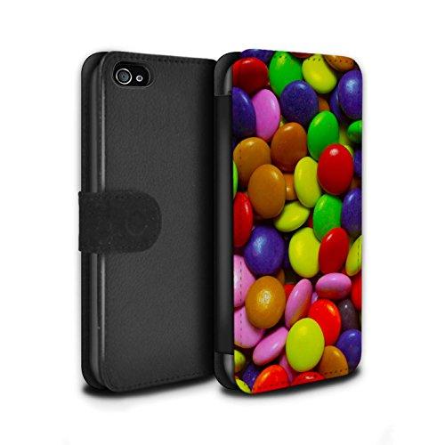 Stuff4 Coque/Etui/Housse Cuir PU Case/Cover pour Apple iPhone 4/4S / Smarties Design / Bonbons Collection Smarties
