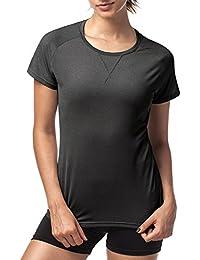LAPASA Camiseta Deportiva para Mujer con Microperforación en los Costados (Múltiples Tallas, Ajuste Ideal)