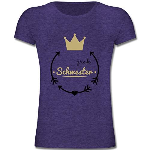 Geschwisterliebe Kind - Große Schwester - Krone - 140 (9-11 Jahre) - Lila Meliert - F131K - Mädchen Kinder T-Shirt - Big Kinder Bekleidung Lila