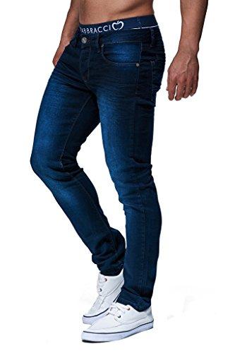 Leif Nelson Herren Jeans Hose Slim Fit Denim Blaue graue Lange Jeanshose für Männer Coole Jungen weiße Stretch Freizeithose Schwarze Cargo Chino Sommer Winter Basic LN303 Blau W29/L32