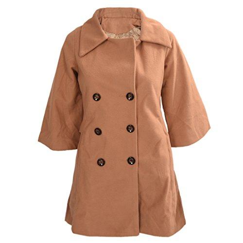 Mantel - TOOGOO(R)Damen Schlank Asymmetrisch Schoesschen Saum Revers Mantel Kamel XL