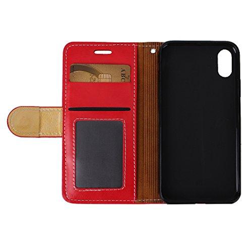PU Pelle Custodia Per iPhone X, Asnlove Doppio Colore Flip Cover Portafoglio Funzione Caso PU Pelle e TPU Silicone Cassa Antiurto Case Bumper Moda Shell Per iPhone X - Nero Rosso