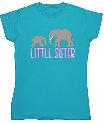 Hippowarehouse Little sister elephant womens fitted short sleeve t-shirt