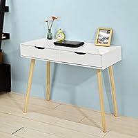 SoBuy® FWT40-WN Table de Bureau Informatique Secrétaire Table Plan de Travail avec 2 tiroirs