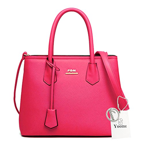 Yoome große Kapazitäts-Kreuz-Muster-Einkaufstaschen Elegante Taschen für Mädchen-Kupplungs-Geldbeutel für Frauen - Rose Rose