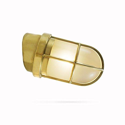 Rustikale Italienische (Polierte messing Lampe mit einem Neigungswinkel von 15° | klares Glas | für Wandmontage | 230V | vom italienischen Hersteller Foresti & Suardi)