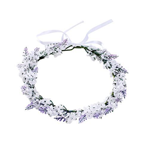 and Blume Krone Lavendel Blumen Kranz Stirnband Kopfschmuck für Braut Mädchen Frauen Hochzeit Geburtstag Party Haarschmuck ()
