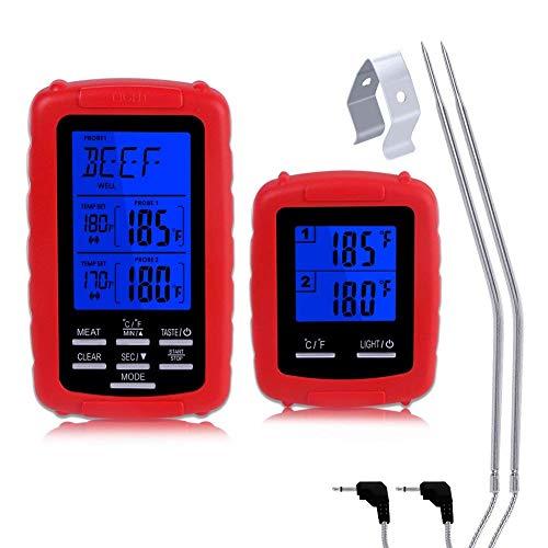 XBXB Digital Grillthermometer, Wireless Remote fleischthermometer 2 Sonden Haushaltsthermometer Küche Thermometer Timer mit Temperaturalarm Für Küche Kochen BBQ Fleisch Fry Food Milch Joghurt