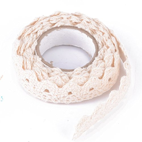 Unicoco FAI Te Autoaufkleber Lace Washi Tape Tape aus Baumwollgewebe Decor Craft (Creme) Creme Trim