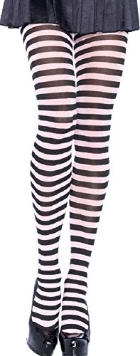 Leg Avenue Damen plus size Strumpfhose quer geringelt schwarz weiß Einheitsgröße ca. 46 bis 48