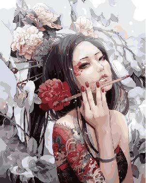 scldream Digital Painting_DIY digital Painting malte gefüllte Farbe Leinen Tier Cartoon Anime kaltes Fräulein, 40x50cm (Tiere Gefüllte Anime)