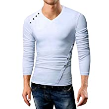 6eac2fb804f9 Vinyst Men V-Neck Various Hem Buttoned Bodycon Tees Pullover Top White M