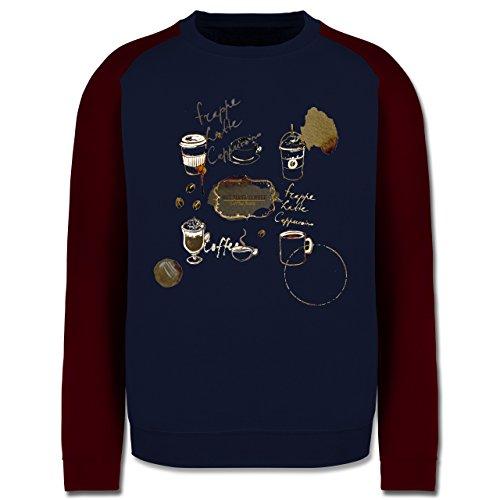 Statement Shirts - But first: Coffee Wasserfarben - Herren Baseball Pullover Navy Blau/Burgundrot
