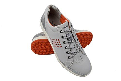 Zerimar scarpe da golf fabbricati in pelle bovina sport e confortevole casual running colore grigio chiaro taglia 44