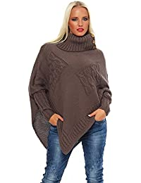Mississhop Poncho Strick Sweatshirt Pullover Umhang Überwurf Einheitsgröße 36 38 40 S M L 11 Farben