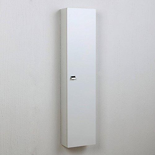 Colonna per bagno pensile in bianco lucido con anta simply