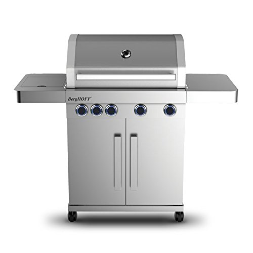 Berghoff 2415501 Outdoor-Küche mit 4 Flammen und Seitenflamme, Edelstahl, metall, 60 x 138 x 118 cm, 4 Einheiten
