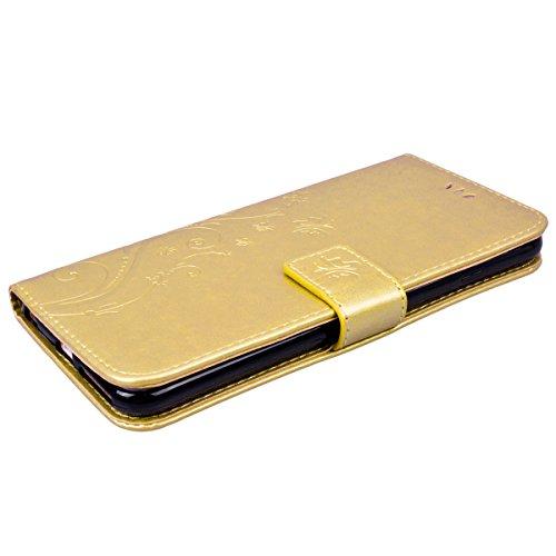 SMART LEGEND iPhone 6 Plus/iPhone 6S Plus Hülle Lederhülle Schmetterling Weinstock Premium Schutzhülle Wallet Case Rot Muster Handyhülle Design Etui Brieftasche Ledertasche mit Handschlaufe Neu Zubehö Gold