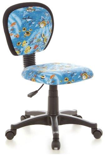 Tank Stuhl (hjh OFFICE 670185 Kinder-Drehstuhl KIDDY TOP Stoff-Bezug Blau Aquarium Fische Schreibtischstuhl Ergonomisch)